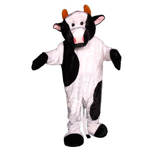 Dress Up America Adults Cow Mascot Costume, White/Black, One Size