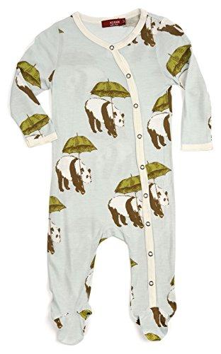 Milkbarn Bamboo Cotton Footed Romper,Grey Hedgehog,0-3 Month
