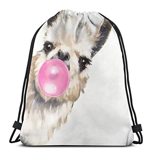 Bubble Gum Sneaky Llama Drawstring Backpack Bag Lightweight Gym Travel Yoga Casual Sackpack Shoulder bag for Hiking Swimming beach ()