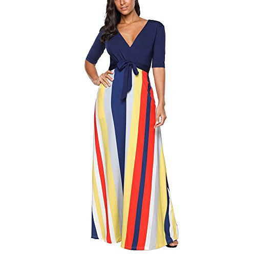 ontrast Color Casual Striped Long Party Dress (Chic Party Dresses)