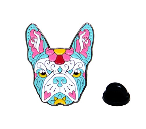 [French Bulldog - Sugar Skull Tattoo - Dog Lover Polished Enamel Lapel Pin] (Blue Bull Mascot Costume)