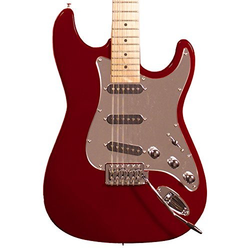 Sawtooth ST-ES-FBRC-BEG ES Series ST Style Electric Guitar Beginner's Pack, Fire Brick Red with Chrome Pickguard - Image 1