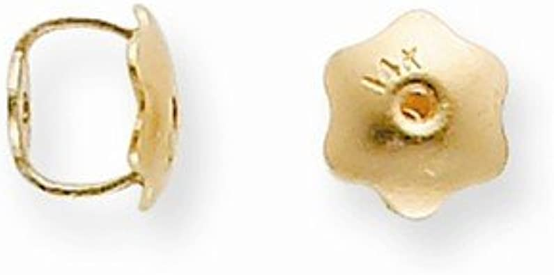 18K Yellow Gold y 2 Hole Threaded Earring Back Setting