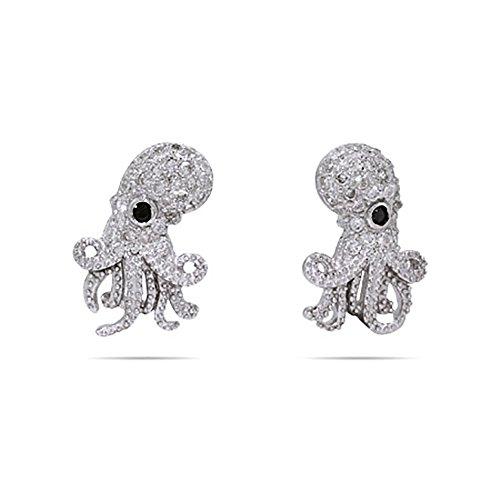 Sterling Silver Cubic Zirconia Octopus Earrings, 1 2 Long Stud Earrings