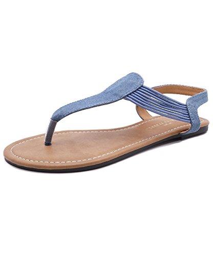 Charles Albert Women's Comfy Slide Elastic Gladiator Sandals (10, Denim)