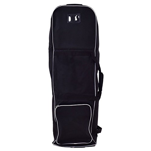 Black Foldable Golf Bag Travel Cover with Wheel ightweight durable oxford cloth by Eight24hours