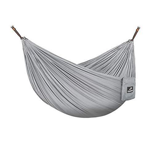 Lhedon Hamacas Para Acampar con Correas Para árboles, Hamaca Ultraligera Portátil Hamaca Para Viajar de Nylon con Paracaídas, Capacidad de Carga de 300 kg Para Exterior e Interior (Gris)