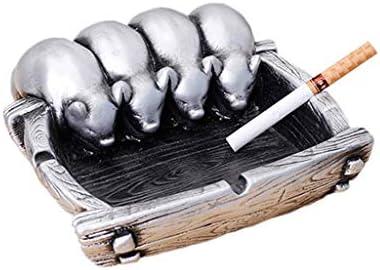 灰皿 , クリエイティブクラフトオーナメント多機能灰皿スクエアホームギフト樹脂灰皿2色 (色 : Silver)