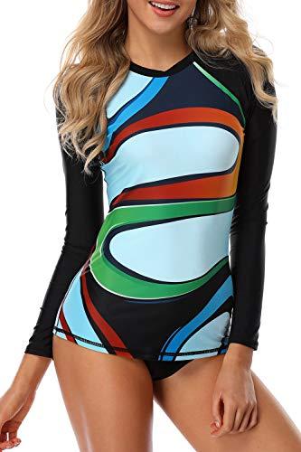 Axesea Women Long Sleeve Rash guard UV Sun Protection UPF 50+ Shirt Top Swimsuit US 10