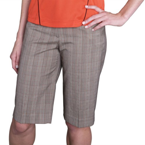 Monterey Club Ladies Stretchable Plaid Bermuda Shorts #2816 (Coconut/Papaya, Size:14) ()