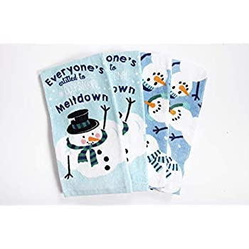 Ritz Fiber Reactive Kitchen Towels, Snowmen Set, Great Christmas Gift, 100% Cotton, Highly Absorbent, Machine Washable, 4 Pack