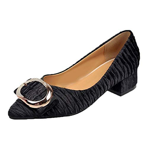 Gris Verano Beige Tacones Puntiaguda de Puntera Beige Mujer Tacón básicos de Negro Grueso Zapatos de PU Poliuretano Bomba ZHZNVX UTf1vqf