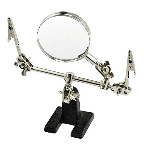 Electric Magnifier - 60mm Helping Hand with Glass Magnifier Electrical Circuits Repair Tool Desktop Magnifying Lens Magnifier Alligator Clamp Tool, for Welding Soldering DIY & Repair(Silver+Black)