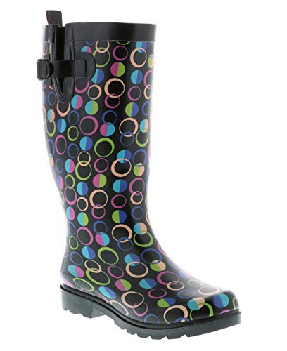 Capelli New York Ladies Tall Sporty Rubber Rain Boots With Designer Dots Black Combo - Designer Boots Ladies