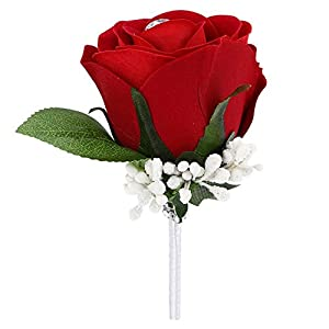 Funbase Mens Rose Boutonniere Corsage for Wedding Prom Silky Flower Pin for Groom Groomsman 90
