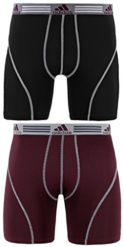 adidas Men's Sport Performance Climalite Boxer Briefs Underwear (2-Pack), Black/Light Onix/Dark Burgundy, Large/Waist Size 36-38