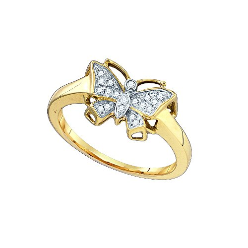 Sonia Jewels Size 7-10k Yellow Gold Round Diamond Butterfly Bug Cluster Ring 1/12 - 10k Butterfly Ring