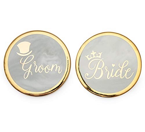 Groom Coaster Set - Luspan Groom and Bride Gold&Marble Stone Coasters Set of 2 - Grey Marble Stone Coasters 3.7 Inches in Diameter - Prefect Match with Groom and Bride Coffee Mugs for Couples