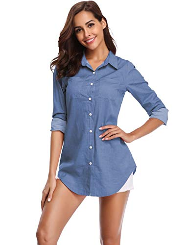 Argstar Women's Chambray Button Down Shirt Long Sleeve Jeans Top, Blue, X-Large...