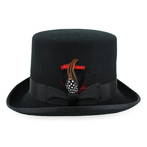 Belfry Topper 100% Wool Satin Lined Men's Top Hat in Black Available in 4 Sizes Large Black