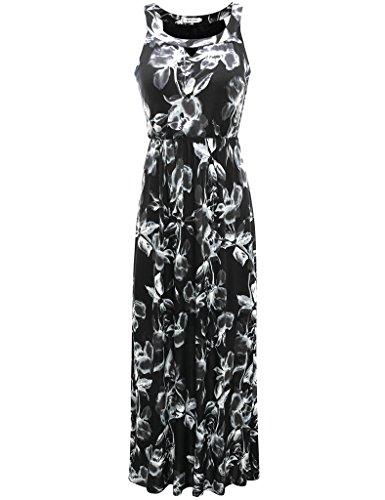 Aphratti Women's Sleeveless Bohemian Halter Long Beach Maxi Dress Black X-Large (Silk Sleeveless Dress Floral)