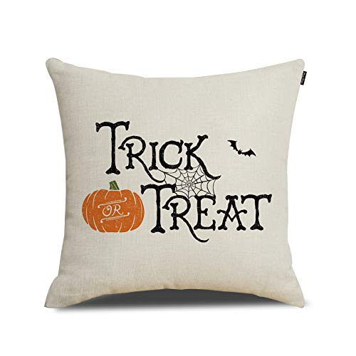 RUOAR Spring Halloween Pillow Cover Orange Trick or Treat Throw Pillow Cover Happy Halloween Cushion Cover 18 x 18 inch -