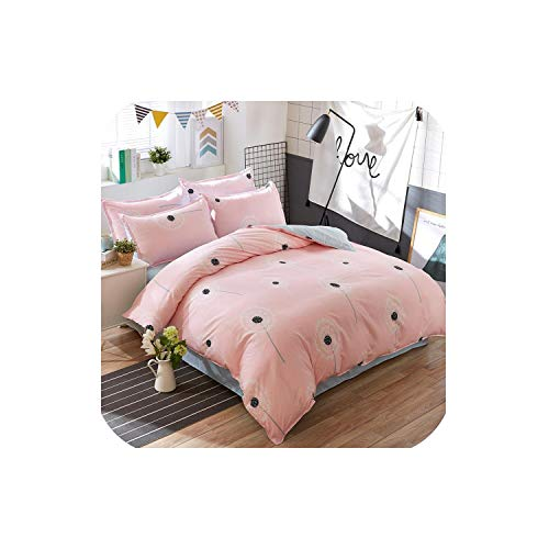 LOVE-JING Pink Dandelions Home Bedding Set Pattern Flat Sheet Duvet Cover Bed Sheet Pillowcase King Queen Full Twin Size,A1,Full Cover 150By200,Flat Bed Sheet (Lego Queen Sheet Set)