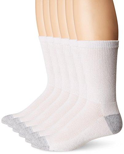 Hanes Ultimate Men's 6-Pack X-Temp Crew Socks, white/gray Heel toe, 10-13