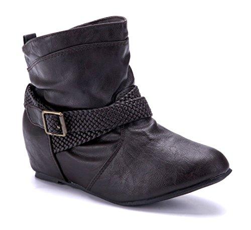 Schuhtempel24 Damen Schuhe Keilstiefeletten Stiefel Stiefeletten Boots Keilabsatz Schnalle 5 cm Braun
