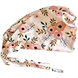 2a7f83c196045 Women s Front Fold Tie Back Scrub Cap Surgical Cap Pink Flowers