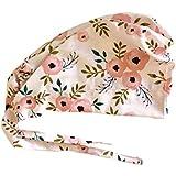 cc520df2c480f Women s Front Fold Tie Back Scrub Cap Surgical Cap Pink Flowers