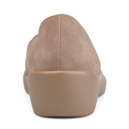Collezione Journee Da Donna Punta Squadrata Comfort Suola Mocassino Taupe