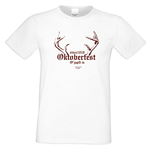 Wiesn T-Shirt - Oktoberfest Since 1810 - O'zapft Is rot - lustiges Spruch Shirt ideal für's Oktoberfest statt Lederhose und Dirndl