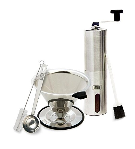 Manual Coffee Grinder and Dripper Set with Bonus Spoon and Cleaning Brush – Stainless Steel – Self Standing Cone Pour Over Brewer and Hand Crank Bean Grinding Tool – by Venoly