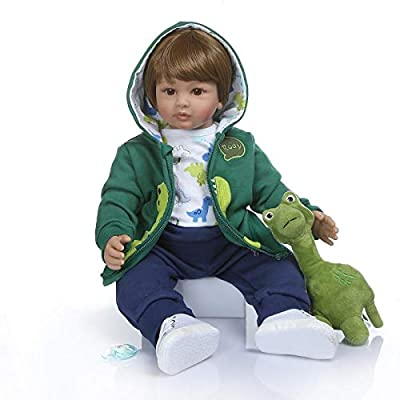 Angelbaby Doll 24 inch Boy Dolls Reborn Toddler Dolls Realistic Looking Soft Silicone Weighted Soft Cloth Body Newborn Baby with Dinosaur Clothes: Toys & Games