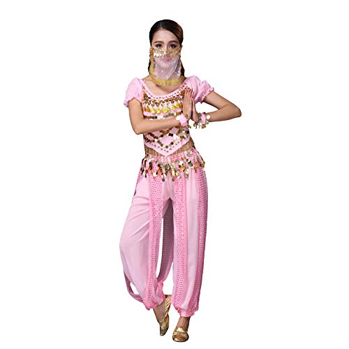 Maylong Womens Harem Pants Belly Dancing Outfit Halloween Costume Hip Scarf DW71 (Pink) ()