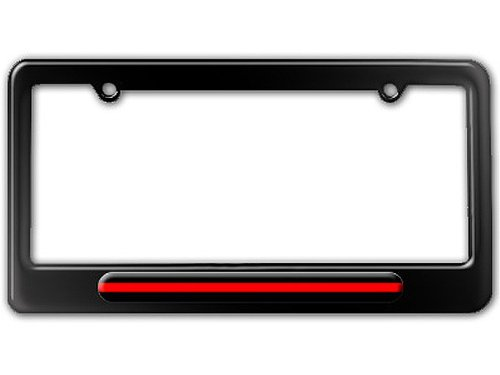 Thin Red Line - Firefighter Firemen License Plate Tag Frame - Color Gloss Black