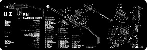 The UZI Armorers Gun Cleaning Bench Mat Full Parts List View Schematic NEW