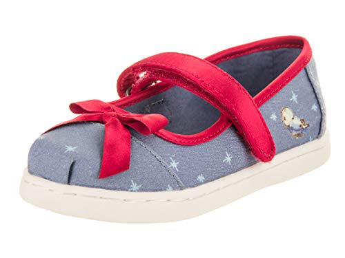 TOMS Tiny Toddlers Mary Jane Blue Snow White Printed Canvas/Bow Slip-On Shoe 7 Infants -