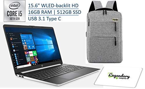 "HP 2020 15 15.6"" HD Touchscreen Premium Laptop - 10th Gen Intel Core i5-1035G1, 16GB DDR4, 512GB SSD, USB Type-C, HDMI, Windows 10 - Silver W/ Legendary Computer Backpack & Mouse Pad Bundle"
