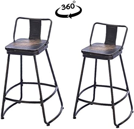 Tongli Swivel Counter Stools with Backs Set of 2 Metal Bar Stools Counter Height, Patio Dining Chairs with Wooden Seat 26