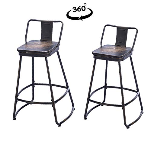 Tongli Swivel bar stools Set of 2 Metal bar Chairs Distressed Counter Height Swivel Bar Stools, Indoor Outdoor Patio Kitchen Chairs with Wooden Seat 26""