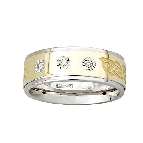 Celtic Knot Diamond Wedding Band Mens Silver & 10K Gold