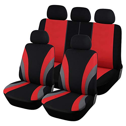 CARWORD Car Seat Covers Universal Full Protectors for Front & Rear Absorbent, Non-Slip, Washable, for Cars, SUVS and Trucks Black and Red