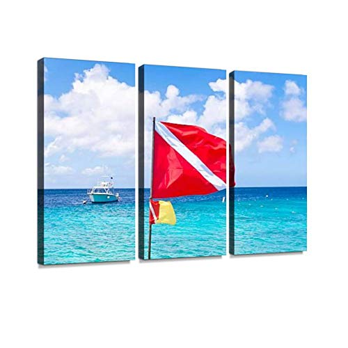 BELISIIS Diving Flag and Boat in The Caribbean Wall Artwork Exclusive Photography Vintage Abstract Paintings Print on Canvas Home Decor Wall Art 3 Panels Framed Ready to Hang