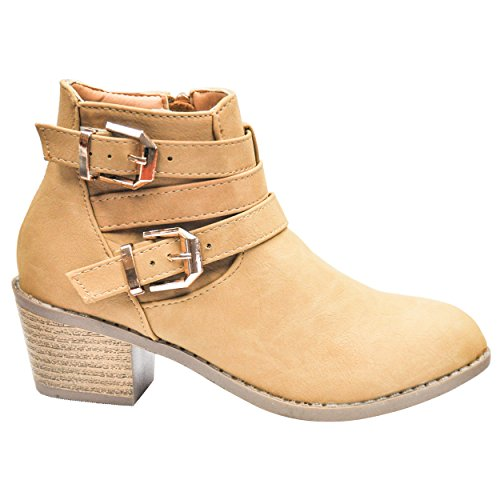 Clearance Sale Faux Leather Camel Zipper Buckle Strap Stacked Heel Round Toe Distressed School Waterproof Winter Walking Botines De Vestir Boot Bootie Shoe For Ladies Teen Girl (Size 12, Camel) Botin Ladies Boots