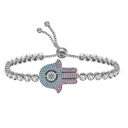 KIVN Fashion Jewelry Adjustable Hamsa Evil eye Pave CZ Cubic Zirconia Wedding Bridal Bracelets for Women ()