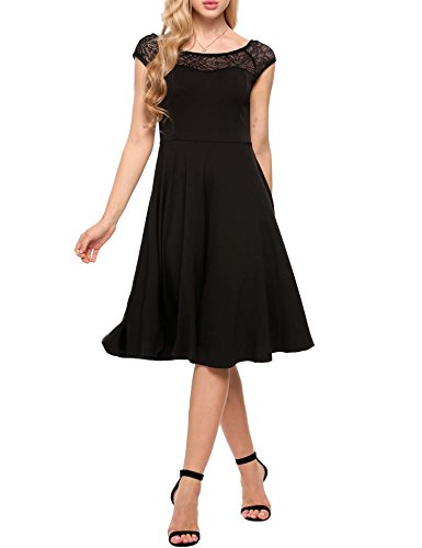 - Zeagoo Womens A-Line Cap Sleeveless Pleated Little Cocktail Party Dress Lace dress,Black,X-Large
