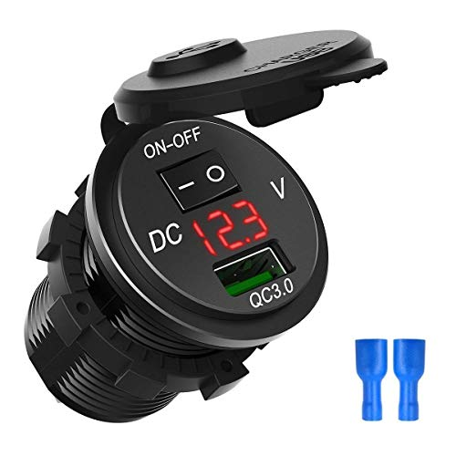 DEALPEAK Quick Charge 3.0 USB Car Charger Socket Digital Display Voltmeter USB Charger Socket with ON-Off Switch for Car Marine ATV Motorcycle (Color : Red)
