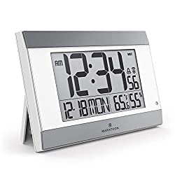 Marathon New Launch CL030052WH-SV Atomic Digital Wall Clock with Auto-Night Light, Temperature & Humidity - Batteries Included (White Panel/Silver Trim)